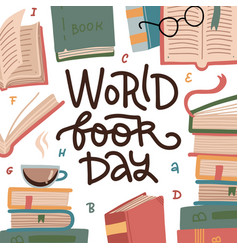 world book day - greeting card or banner stack vector image