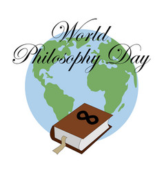 World philosophy day stack books with open vector