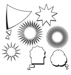 blank template comic text speech bubble star set vector image