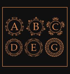 calligraphic monogram golden emblem swirls design vector image vector image