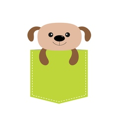 Dog in the pocket Cute cartoon character Dash line vector image