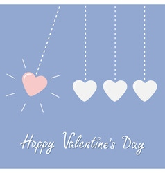 Four hanging hearts dash line Perpetual motion vector image vector image