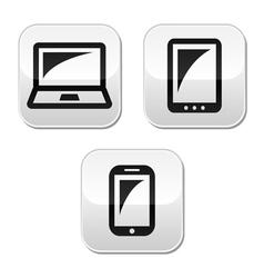Laptop tablet smarthone vecor buttons set vector image vector image