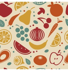 Retro style fruit and vegetables pattern vector
