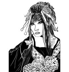 Stylized cartoon geisha woman japanese dancing vector