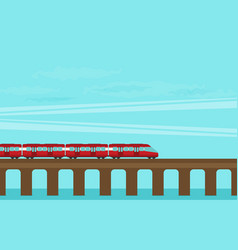 train on railway travel concept background vector image vector image