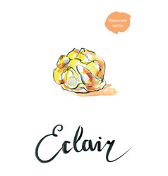 watercolor cake eclair vector image vector image