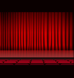 auditorium stage threater with red curtains and vector image