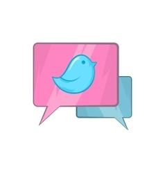 Bird on a speech bubble icon cartoon style vector image