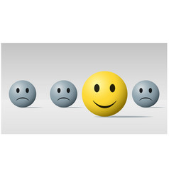 happy face ball among sad face balls background vector image