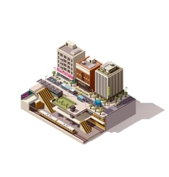 isometric subway station cross section vector image