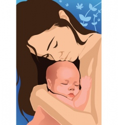 mom and baby vector image