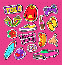teenage fashion stickers badges and patches vector image vector image