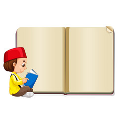 background template with muslim boy reading vector image vector image