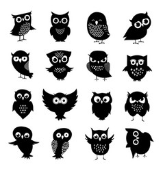 black and white owl silhouettes set vector image