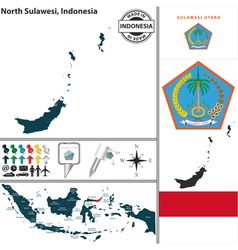 Map of North Sulawesi vector image vector image
