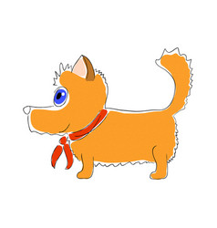 orange dog with red tie on vector image vector image