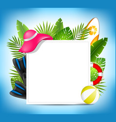 tropical summer design card template with beach vector image