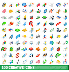 100 creative icons set isometric 3d style vector image
