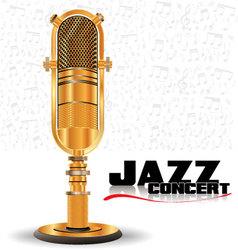 Abstract golden retro microphone vector image
