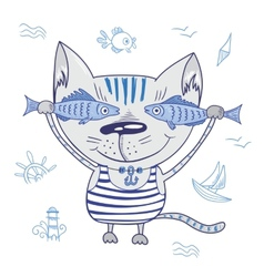 Funny Cat with Fishes vector image vector image