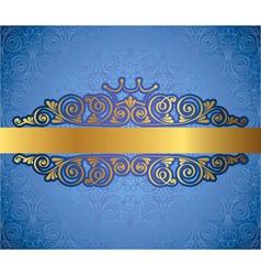 Gold antique frame on blue decorative background vector image