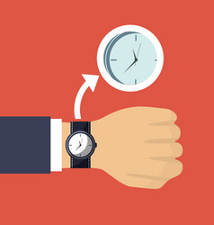 hand business man with wrist watch and clock vector image