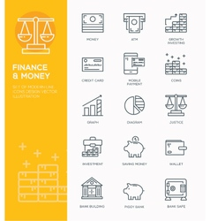 Modern Line icon design Concept of Banking vector image vector image