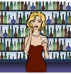 woman drinking martini vector image vector image