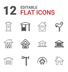 12 roof icons vector image