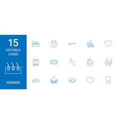15 human icons vector