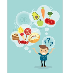 A man choosing between healthy food and fast food vector image