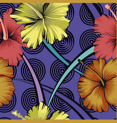 Abstract flowers background hibiscus seamless vector
