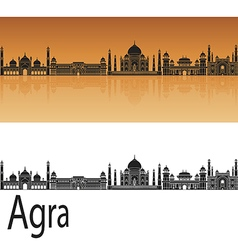 Agra skyline in orange vector image vector image