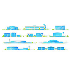 airport buildings icons modern terminals vector image