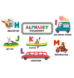 Alphabet with transport and animals h to m vector
