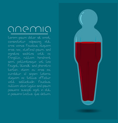 Anemia design concept human body shaped tube with vector