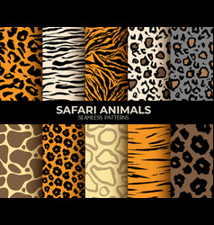 animal fur seamless patterns leopard tiger zebra vector image