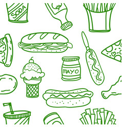 art of fast food doodles vector image vector image