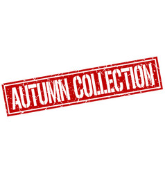 Autumn collection square grunge stamp vector