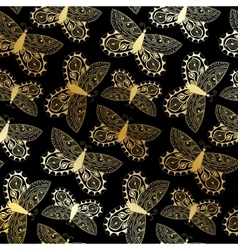Beautiful seamless background of butterflies vector
