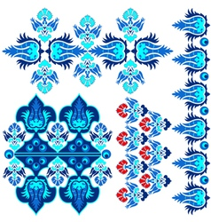 Blue ottoman serial patterns eight vector