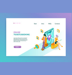 Booking isometric landing page vector