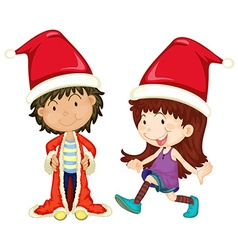 Boy and girl wearing santa outfit vector image
