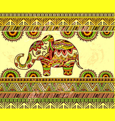 Bright horizontal ethnic pattern with elephant vector