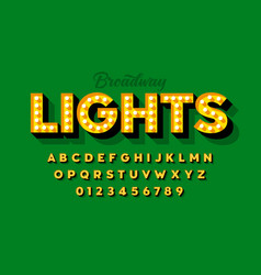 Broadway lights retro style light bulb font vector
