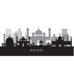 Brunei landmarks skyline in black and white vector