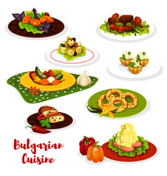Bulgarian cuisine lunch menu icon with meat dish vector