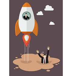 Businessman on a rocket get away from puddle of vector image