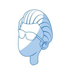 cartoon portrait head man male character vector image